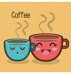 Cartoon two cup coffee expression design vector