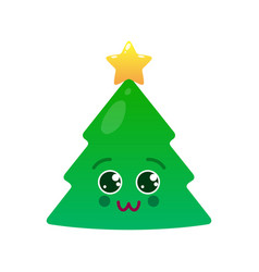 charming christmas tree isolated emoticon vector image