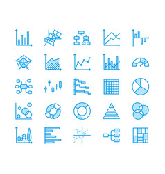 Chart types flat line icons linear graph column vector