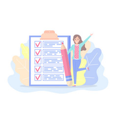 checklist with marks and text woman planning plan vector image