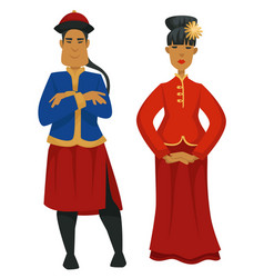 Chinese national clothing or costumes man and vector