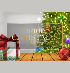 christmas background with gifts balls vector image