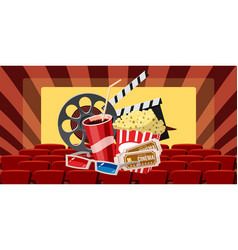 cinema movie premiere icons set cartoon style vector image