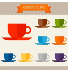 Coffee cups colored templates for your design in vector