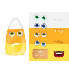 Cute halloween candy corn monster with various vector