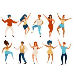 dancing people happy young men and women dance vector image