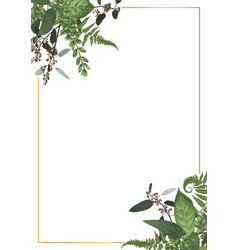 Decorative golden rectangular frame with vector