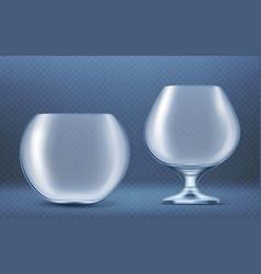 empty glass round aquarium for golden fish vector image