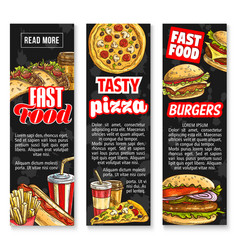 fast food lunch with drink banners vector image