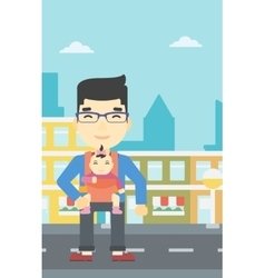 Father carrying his daughter in sling vector image