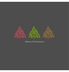 Festive card design with a row christmas trees vector