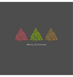 festive card design with a row of christmas trees vector image