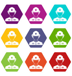 firefighter icon set color hexahedron vector image