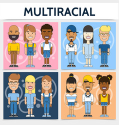 Flat multiracial families square concept vector
