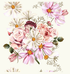 floral seamless pattern with rose flowers vector image