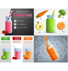 fruit smoothie banner set cartoon style vector image