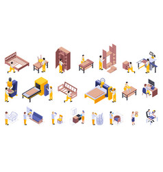 Furniture production isometric set vector