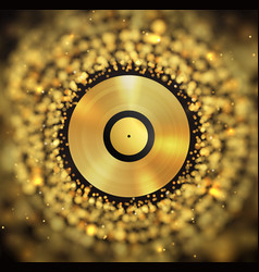 Golden vinyl disc on abstract golden blurred vector