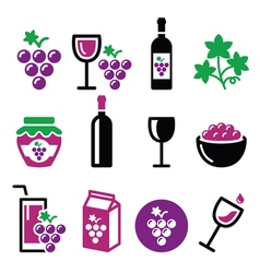 Grapes wine - food and beverages icons set vector image