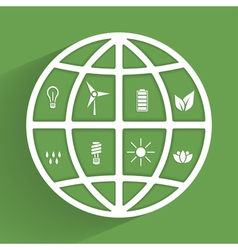 Green planet with eco icons vector