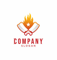 Grill logo knife with flame logo design vector