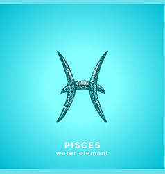 hand drawn pisces zodiac sign vector image