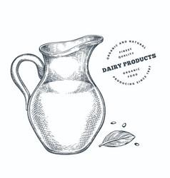 Hand drawn sketch style milk glass jug organic vector