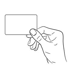 Hand holding a card on white background vector