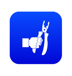 Hand holding chisel icon digital blue vector