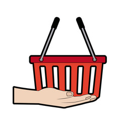 Hand holding shopping basket market vector