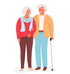 Happy grandparents flat cartoon vector