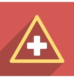Health Warning Triangle Flat Square Icon with Long vector