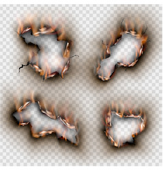 hole set torn in ripped paper with burnt flame vector image
