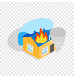 house is on fire isometric icon vector image