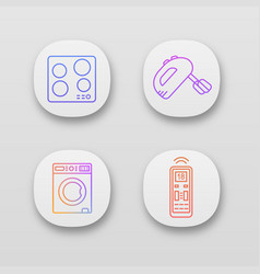 Household appliance app icons set vector