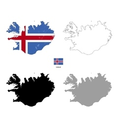 Iceland country black silhouette and with flag on vector image