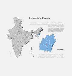 India country map and manipur state template vector