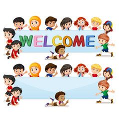International kids on welcome banner vector