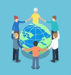 Isometric people around world holding hands vector