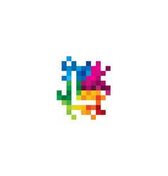 L letter mosaic pixel logo icon design vector