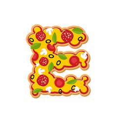 Letter e pizza font italian meal alphabet vector