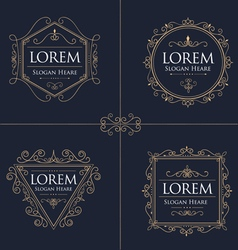 Luxury Logos Set template flourishes calligraphic vector image