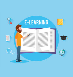 Man with elearning book knowledge to study vector