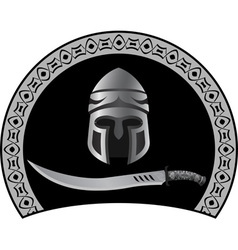 Medieval helmet with sword vector
