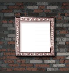 metal frame on old brick wall vector image