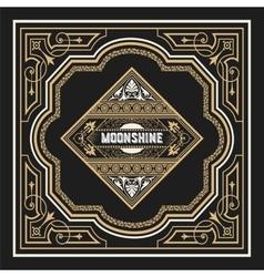 Moonshine label with old frame design vector