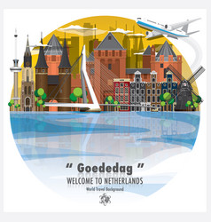 netherlands landmark global travel and journey vector image