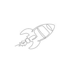 One single line drawing simple vintage rocket vector
