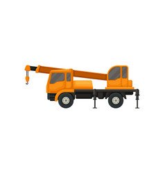 Orange truck crane heavy machinery with boom and vector