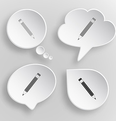 Pencil White flat buttons on gray background vector image